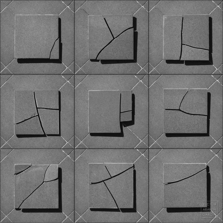 Composición de nueve fotografías en blanco y negro de baldosas rotas