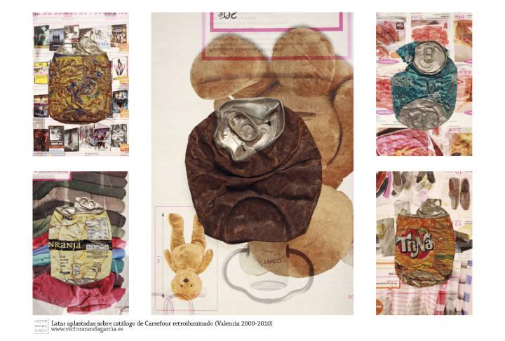 Diseño de calendario con cinco fotografías de latas aplastadas sobre las páginas de un catálogo comercial