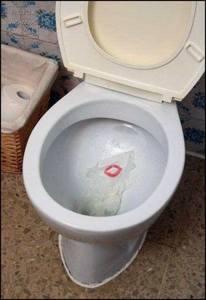 Fotografía de un trozo de papel higiénico teñido con unos labios rojos en el interior de un retrete