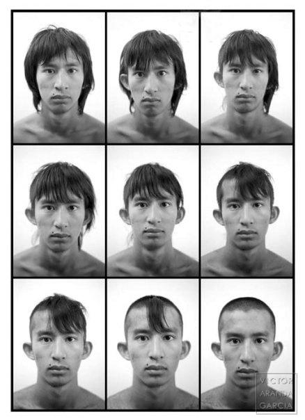 Secuencia de nueve retratos en blanco y negro de un chico al que se corta el pelo