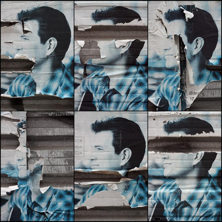 Seis fotografías de diferentes carteles con el rostro del músico Chris Isaak