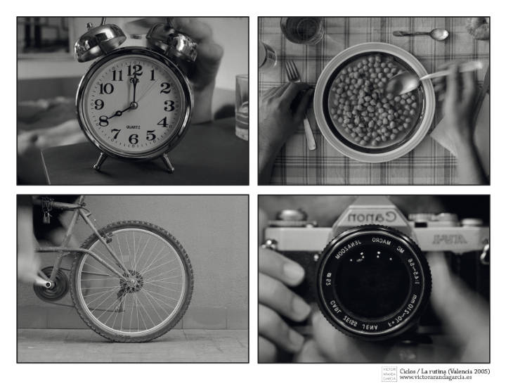 Cuatro fotografías en blanco y negro que tienen en común un elemento circular en el centro de la composicíón