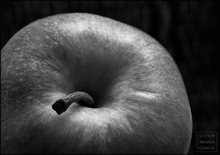 Fotografía de una manzana con su rabo