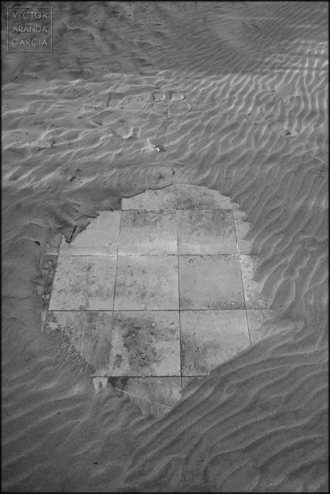 Fotografía de unas bsldosas que asoman entre la arena
