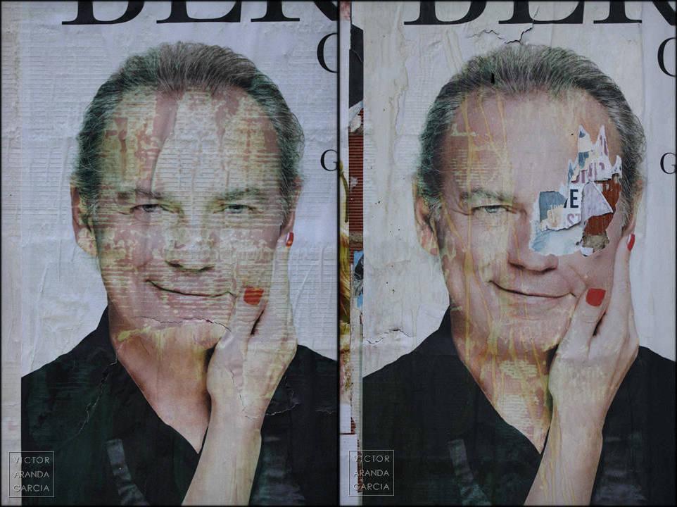 Fotografías de dos carteles con la cara de Bertín Osborne