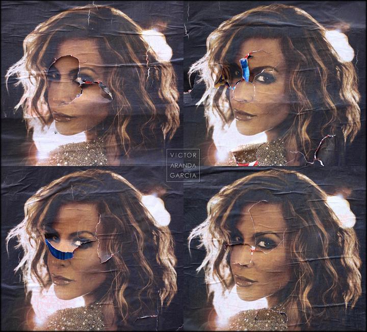 Fotografías de 4 carteles con la cara de una chica de un anuncio