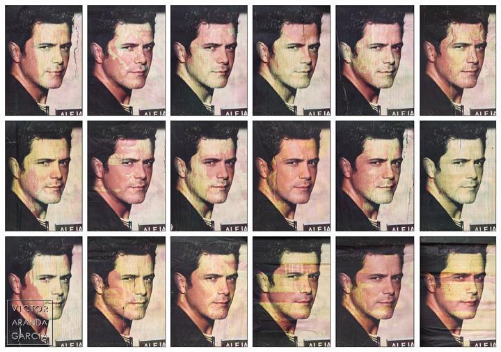 Fotografías de carteles de promoción de Alejandro Sanz con diferentes defectos de color
