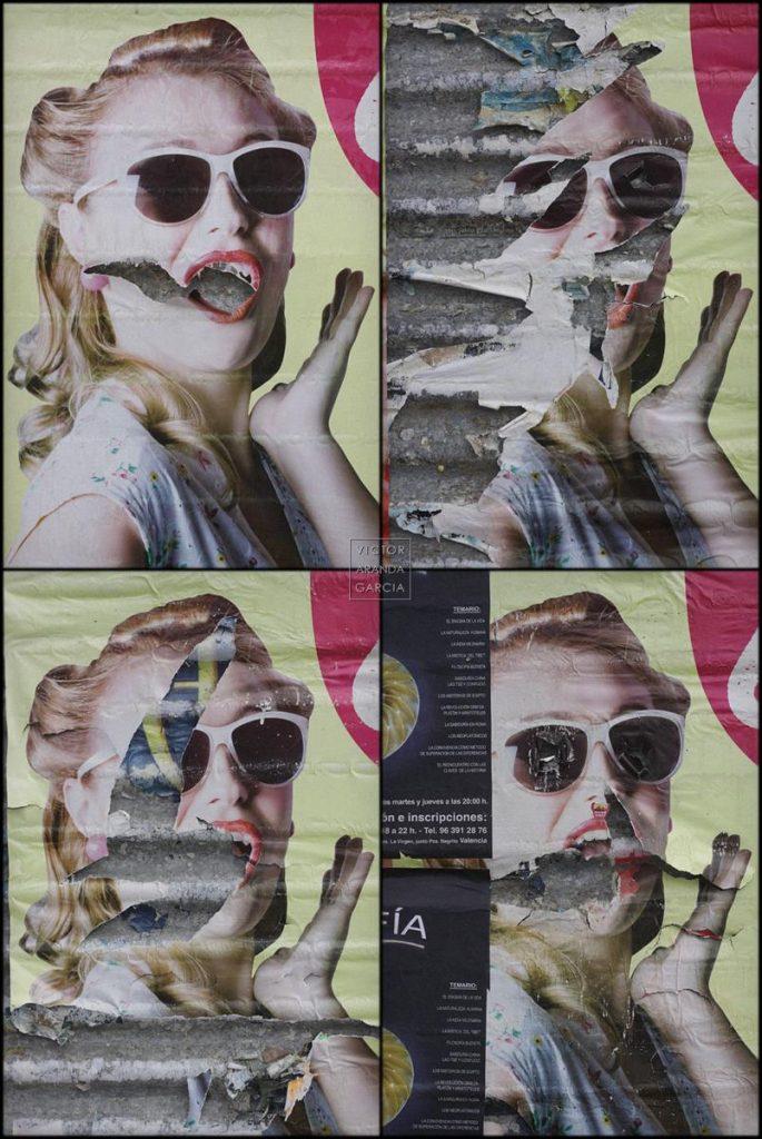 Fotografías de carteles de publicidad rotos con la cara de una chica con gafas de sol