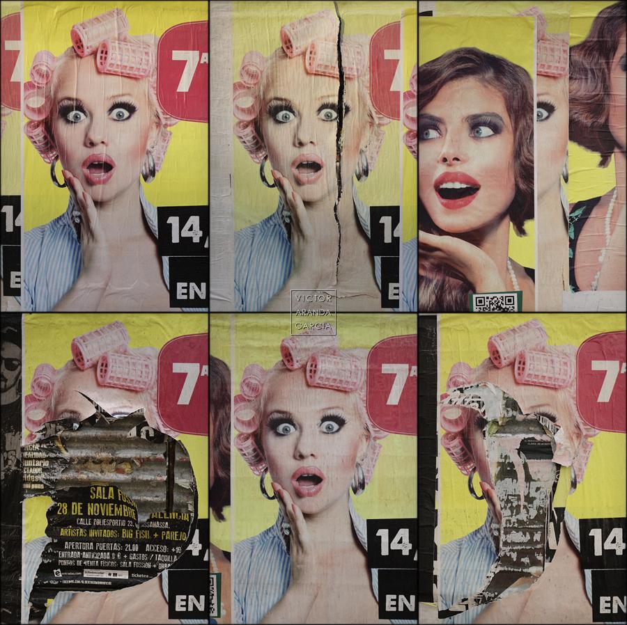 Fotografías de seis carteles de publicidad con la cara de una chica con rulos sorprendida
