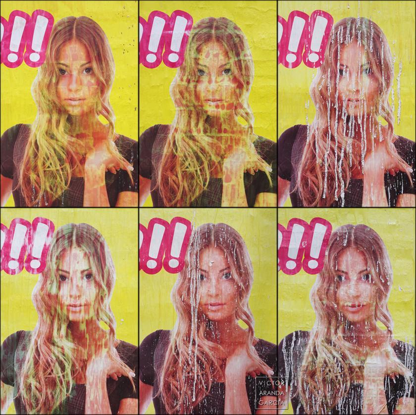 Fotografías de carteles publicitarios con la misma imagen pero con diferentes defectos