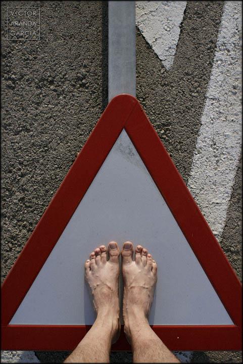 señal,pies,suelo,serie,arte
