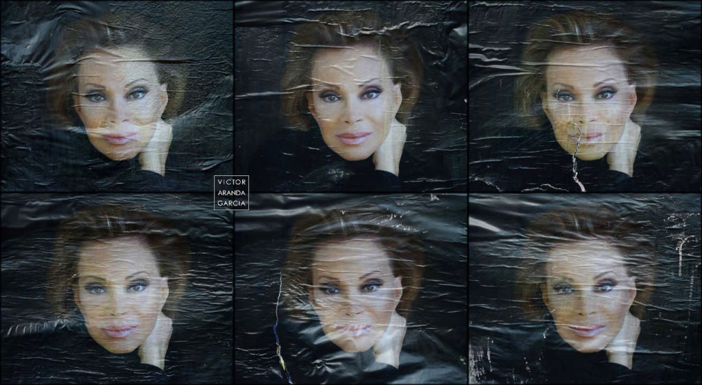 Seis fotografías de carteles con la cara de Paloma San Basilio